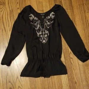 WHBM embroidered semi sheer top
